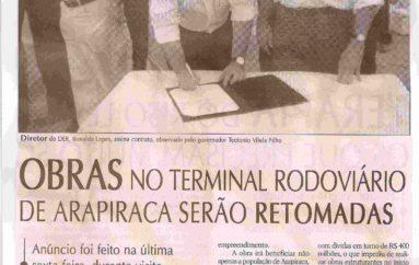 Obras no terminal rodoviário de Arapiraca serãon retomadas