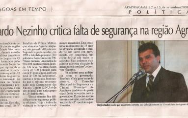 Ricardo Nezinho critica falta de segurança na região do agreste