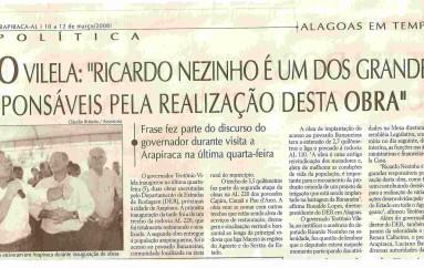 """Teo Vilela: """"Ricardo Nezinho é um dos grandes responsáveis pela realização desta obra"""""""