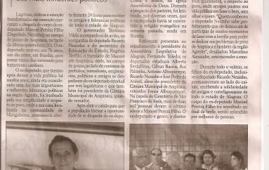 Arapiracaquenses dão último Adeus ao Ex-Deputado Nezinho