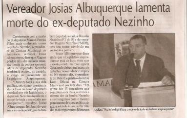 Vereador Josias Albuquerque lamenta morte do Ex – Deputad Nezinho