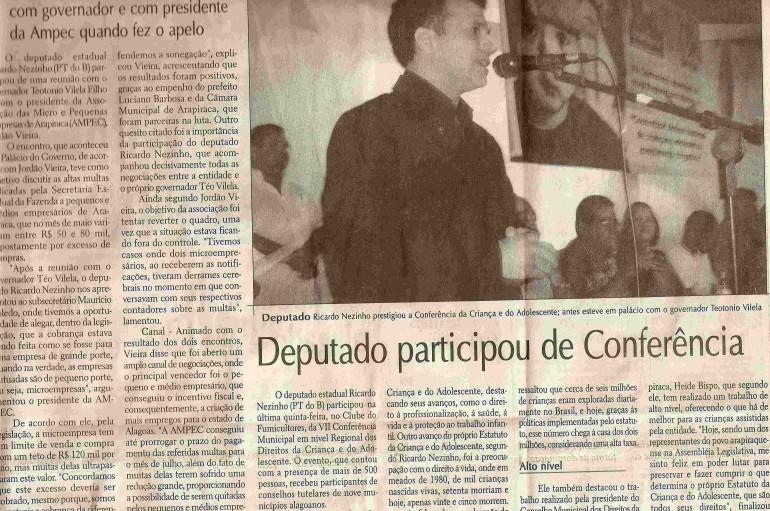 Deputado participou e Conferencia