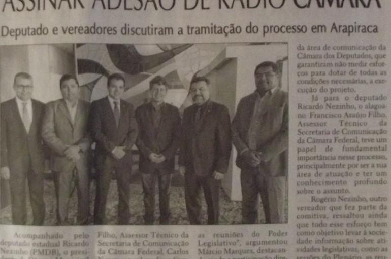 Deputado vai à Brasília assinar adesão de rádio Câmara