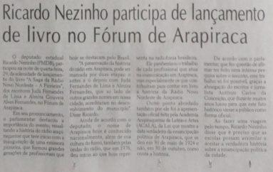 Ricardo Nezinho participa de lançamento de livro no Fórum de Arapiraca