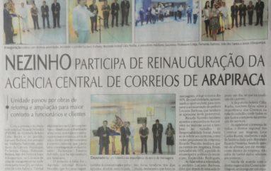Nezinho participa de reinauguração da agência central de Correios de Arapiraca