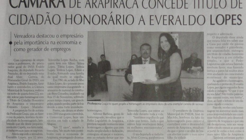 Câmara de Arapiraca concede título de Cidadão Honorário a Everaldo Lopes