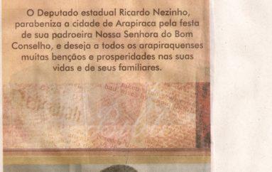 Ricardo Nezinho parabeniza a cidade de Arapiraca