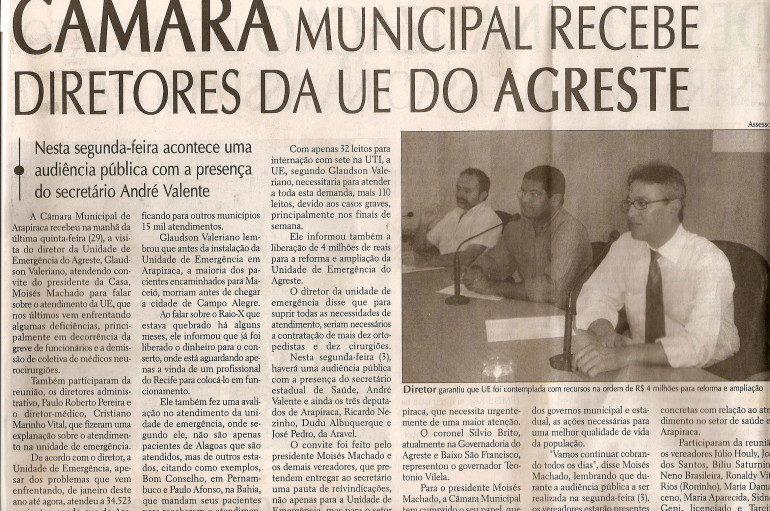 Câmara Municipal recebe diretores da UE do Agreste