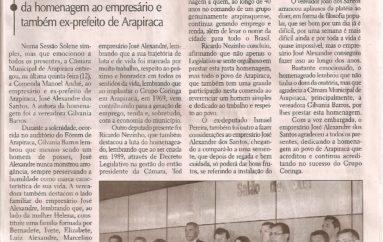 Câmara de Arapiraca presta homenagem a José Alexandre