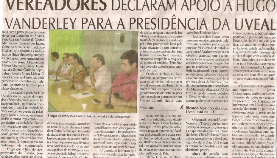 Vereadores declaram apoio a Hugo Vanderley para presidência da Assembléia