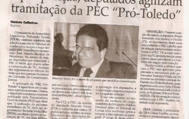 """Após posição, deputados agilizam tramitação da PEC """"PRÓ-TOLEDO"""""""