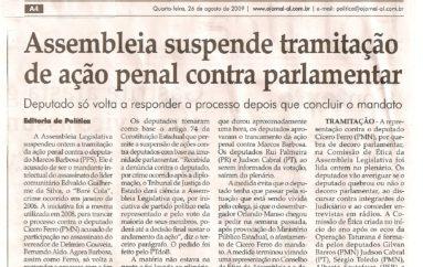 Assembleia suspende tramitação de ação penal contra Parlamentar