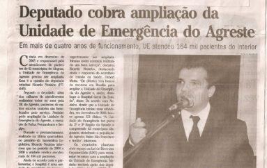 Deputado cobra ampliação da Unidade de Emergência do Agreste