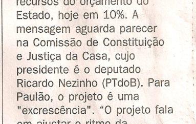 Paulão volta a criticar mensagem do Governo
