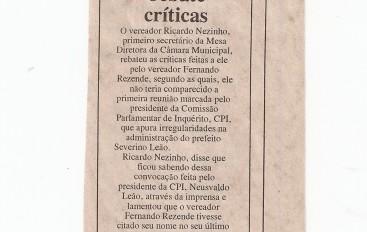 Ricardo rebate críticas