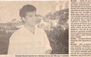 Vereador Ricardo Nezinho foi o destaque no ano de 1993
