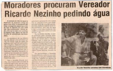 Moradores procuram Vereador Ricardo Nezinho pedindo água