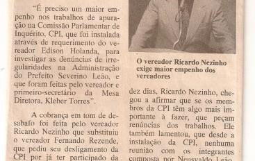 Ricardo Nezinho quer empenho na CPI de Leão