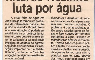 Ricardo Nezinho luta por água
