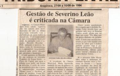 Gestão de Severino Leão é criticada na Câmar