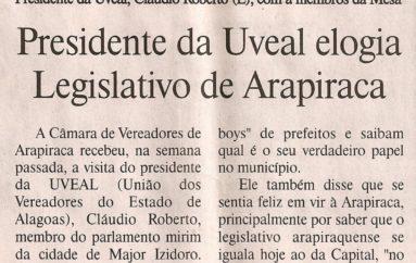 Presidente da UVEAL elogia Legislativo de Arapiraca