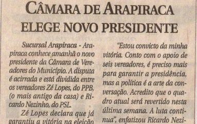 Câmara de Arapiraca elege novo presidente