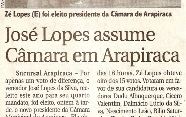 José Lopes assume Câmara de Arapiraca