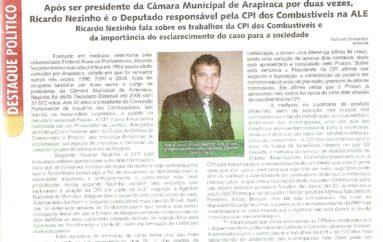 Ricardo Nezinho é o Deputado responsável pela CPI dos Combustíveis na ALE