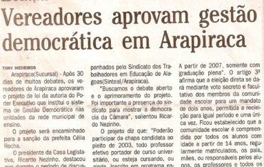 Vereadores aprovam gestão democrática em Arapiraca