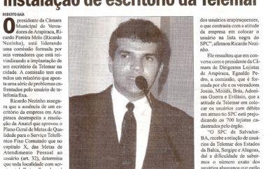 Vereadores de Arapiraca exigem instalação de escritório da Telemar
