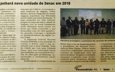 Arapiraca ganhará nova unidade do Senac em 2018