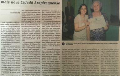 Professora Dira Oliveira é a mais nova cidadã Arapiraquense