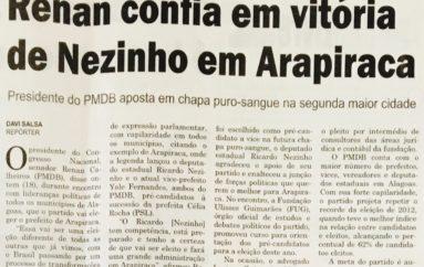 Renan confia em vitória de Nezinho em Arapiraca