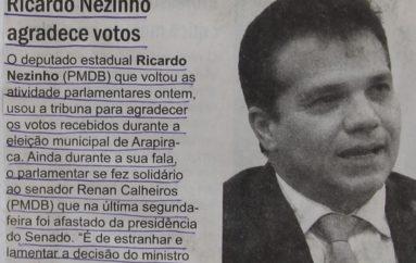 Ricardo Nezinho agradece votos