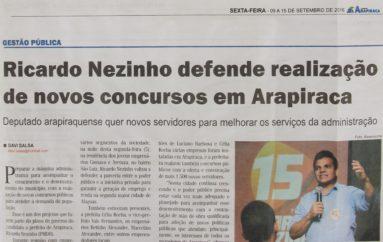 Ricardo Nezinho defende realização de novos concursos em Arapiraca