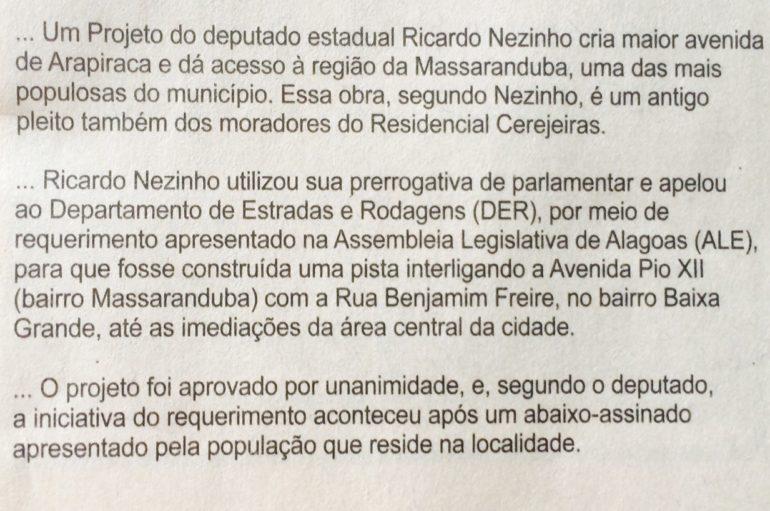 Projeto do deputado Ricardo Nezinho cria a maior avenida de Arapiraca