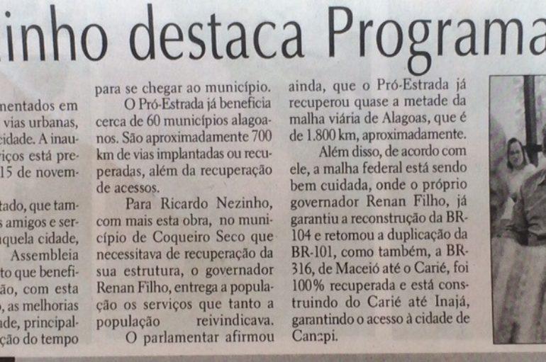 Ricardo Nezinho destaca Programa Pró-Estrada