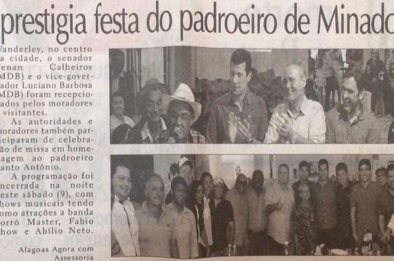 Deputado prestigia festa de padroeiro de Minador do Lucio