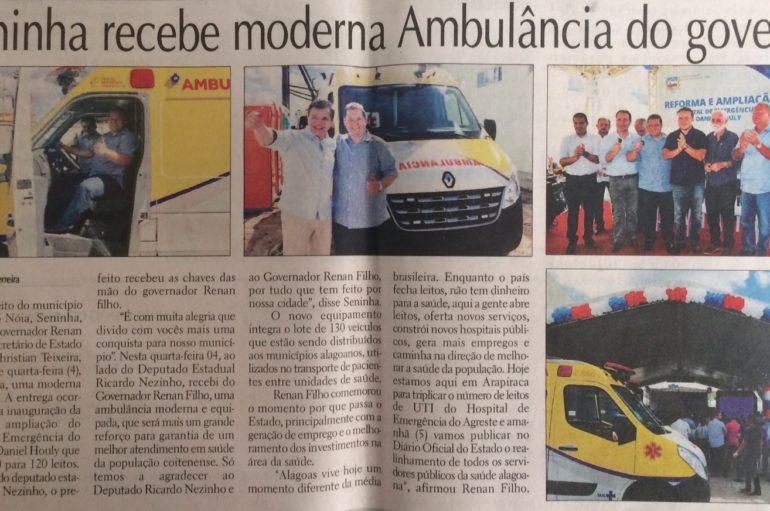 Seninha recebe moderna Ambulância do governo