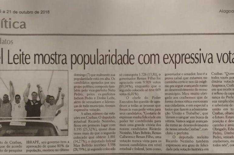 Ediel Leite mostra popularidade com expressiva votação