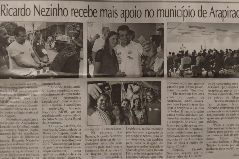 Ricardo Nezinho recebe mais apoio no município de Arapiraca