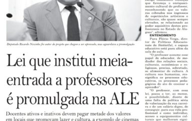 Lei que institui meia entrada a professores é promulgada na ALE