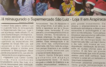 Já reinaugurado o Supermercado São Luiz – Loja II em Arapiraca