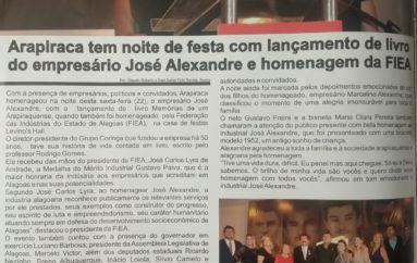 Arapiraca tem noite de festa com lançamento de livro do empresário José Alexandre e homenagem a FIEA